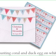 bunting coral and duck egg