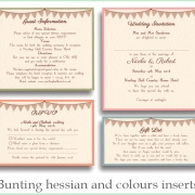bunting hessian and colours inserts