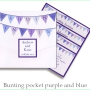 bunting purple blue on white