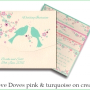 love doves pink and turq on cream