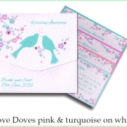 love doves pink and turq on white