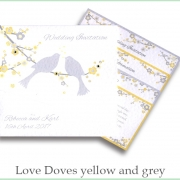 love doves yellow and grey