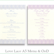 Love Lace A5 Menu and Order of the Day