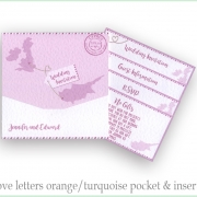 pink pocketfold wedding invite Cyprus