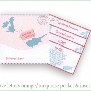 Cyprus wedding invitation in orange and turquoise
