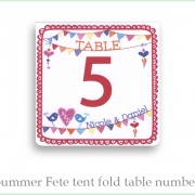 Summer fete table number