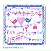 summer fete bright blue pink wedding invitation