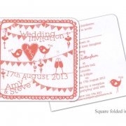 summer fete bright colourful wedding invitation 2
