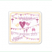summer fete bright colourful wedding invitation 3