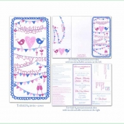 summer fete bright colourful wedding invitation 4