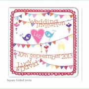 summer fete bright colourful wedding invitation