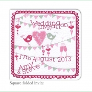 summer fete bright pretty birds wedding invitation