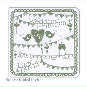 summer fete sage green wedding invitation
