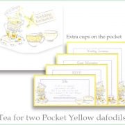 yellow grey tea for two teacups extra cups wedding invite