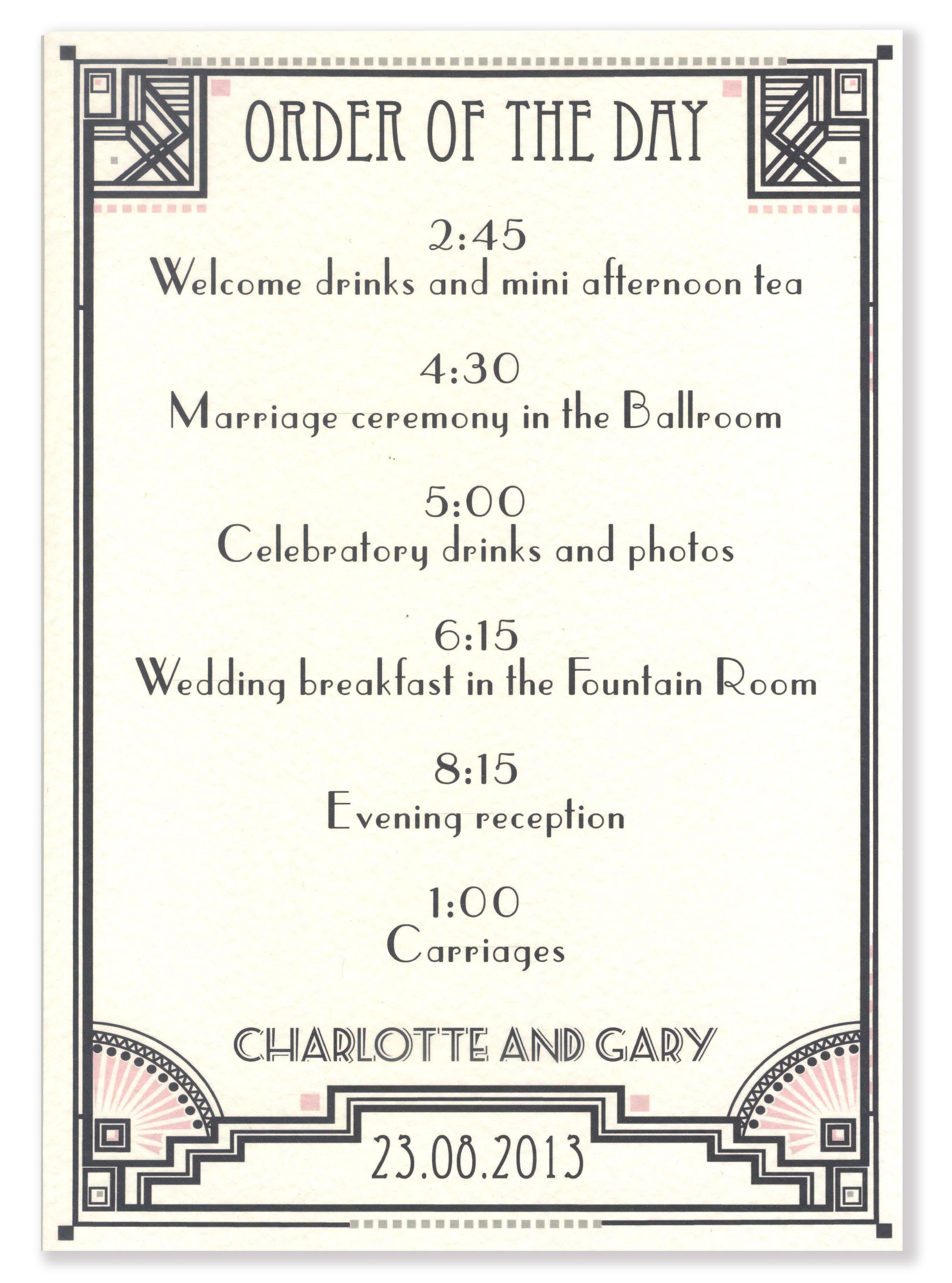 Gatsby Wedding Order of the day