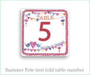 Table Number Summer fete wedding range