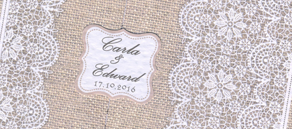 hessian lace invitation