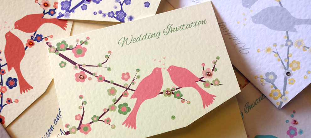wedding invitations stationery birds love doves