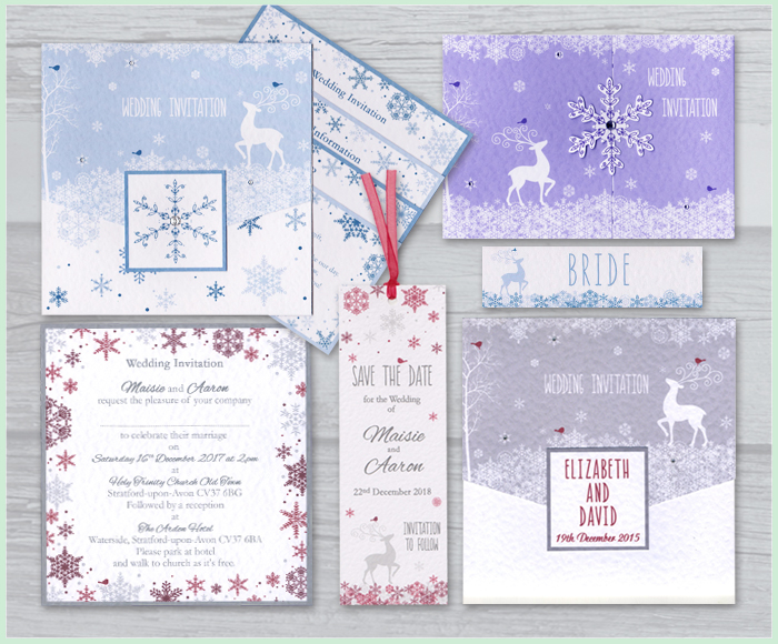 WINTER WEDDING INVITATION STAG ROBIN SNOWFLAKES